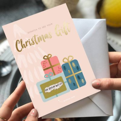 Christmas Gift Surprise Scratch Card By Rodo Creative in Manchester.