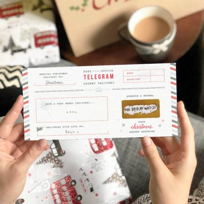 Christmas Telegram Gift Card - Scratch to reveal. Designed by Rodo Creative.