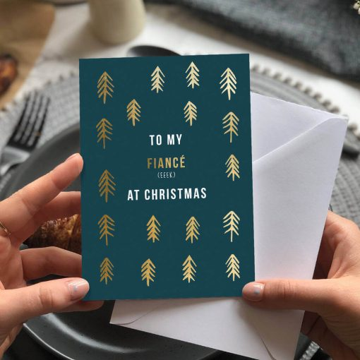Fiance Christmas Card with gold foil trees, Designed by Rodo Creative in Manchester