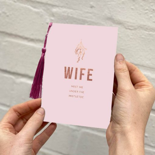 Wife Christmas Card, Luxury Rose gold foil and tassel details. Designed by Rodo Creative