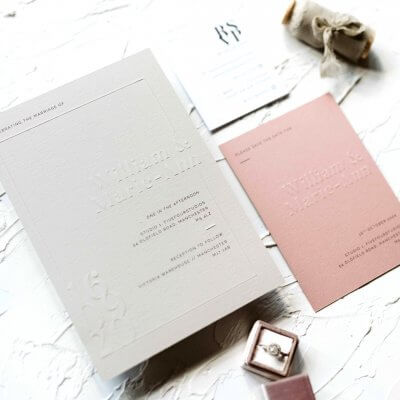 Blind Embossed Wedding Invites - Designed by Rodo Creative in Manchester