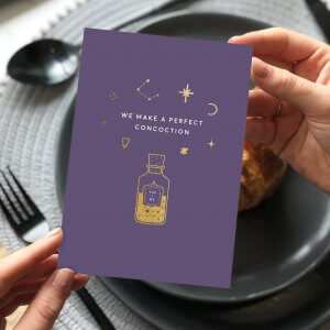 We Make The Perfect Concoction Gold foiled card - Designed by Rodo Creative Manchester