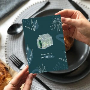 You Help me Grow Greetings Card, Designed by Rodo Creative in Manchester