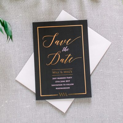 Black and Gold Luxurious Save the Dates for a Special wedding or event. Designed by Rodo Creative