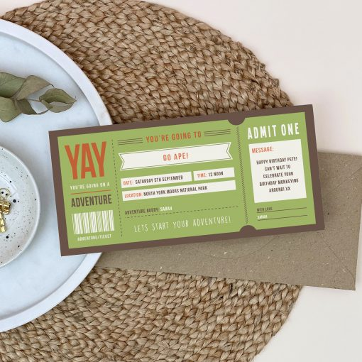 Adventure Ticket - Designed by Rodo Creative - Wedding stationery and greetings card design