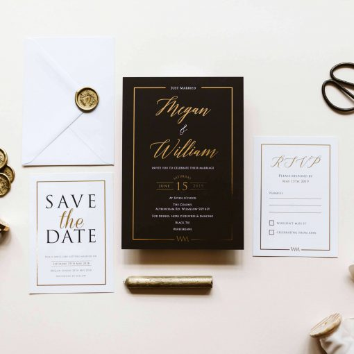 Our Black and Gold Lux wedding invites are the ultimate in luxury wedding invitations. Featuring gold foil detailing and rich black colour scheme