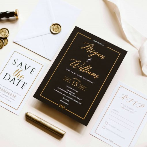 Our Black and Gold Lux wedding invites are the ultimate in luxury wedding invitations. Featuring gold foil detailing and rich black colour scheme. invite wording for a wedding after party