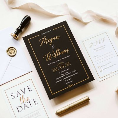 Black and Gold Lux Wedding Invitations - Designed by Rodo Creative