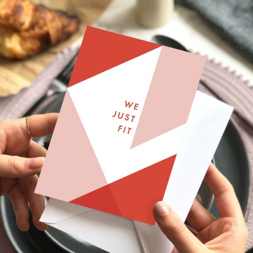 We Just Fit Love Card for a Special Occassion - Designed by Rodo Creative in Manchester