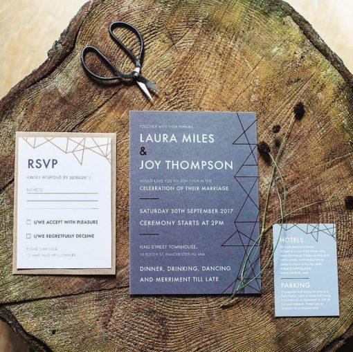 Grey Geometric Copper Foil Wedding Invites - Designed by Rodo Creative