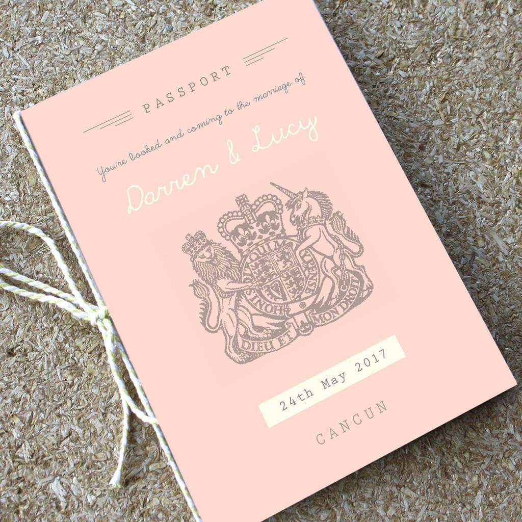 Blush Passport Wedding Invitation Designed by Rodo Creative Manchester