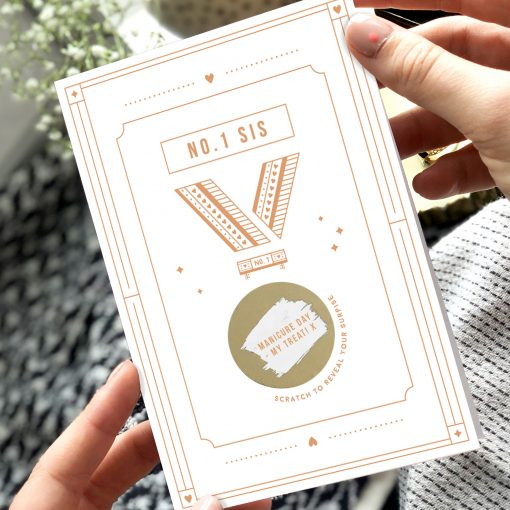 No.One Sister Medal Scratch Card - Designed by Rodo Creative in Manchester