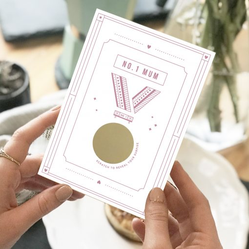No.One Mum Medal Scratch Card - Designed by Rodo Creative in Manchester