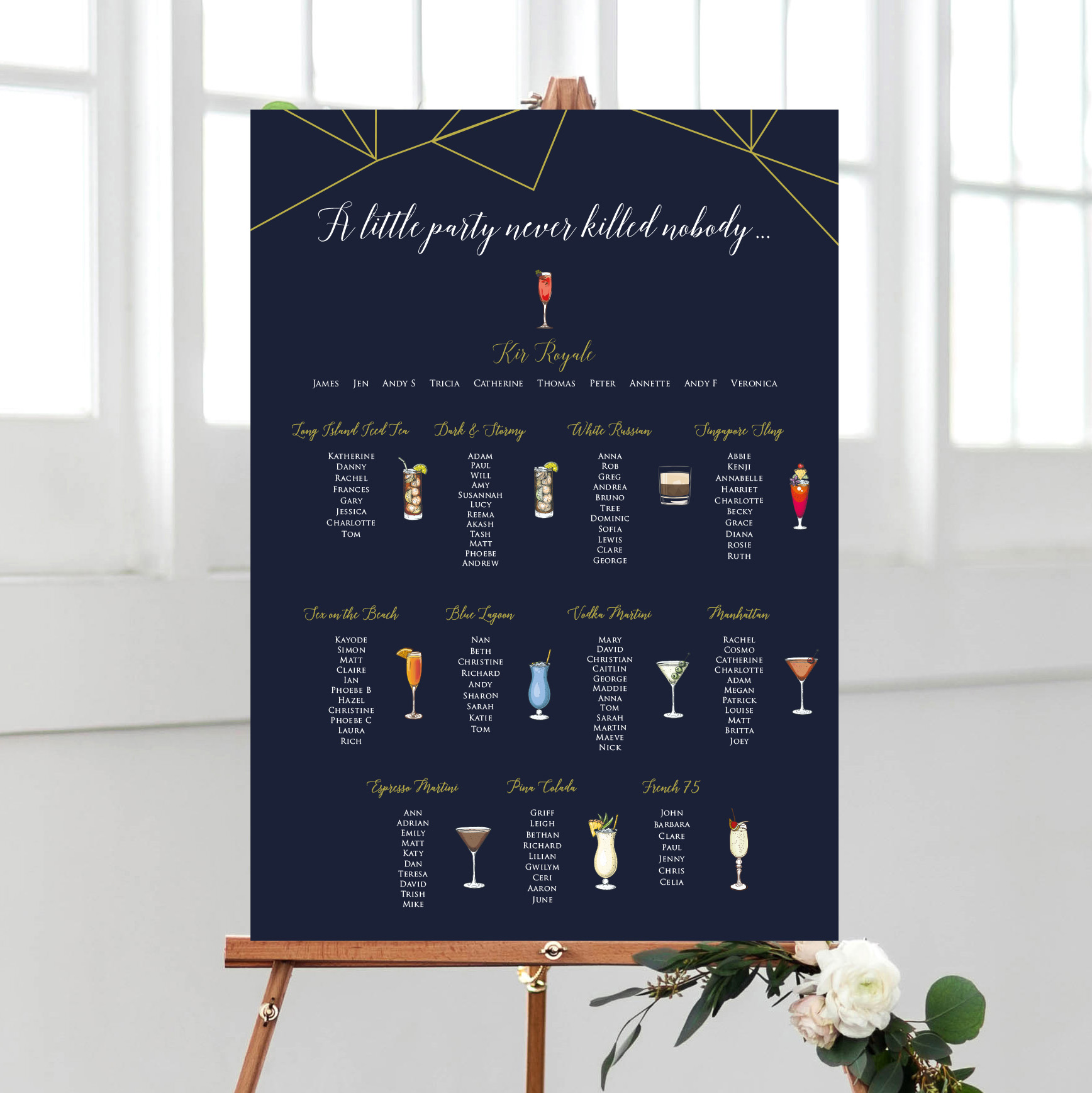Cocktails Table plan for a Wedding or Special Occasion - By Rodo Creative