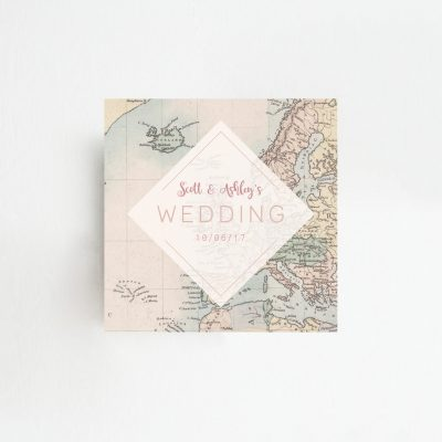 Travel Map Order of Service Fan - Perfect for an abroad wedding - By Rodo Creative