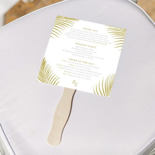 Palm Leaf Order of Service Fan - Perfect for an abroad wedding - Designed by Rodo Creative