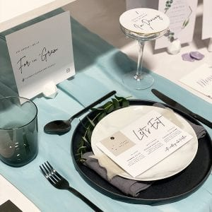 Let's Eat Menu with place card - Perfect for weddings with menu choices.