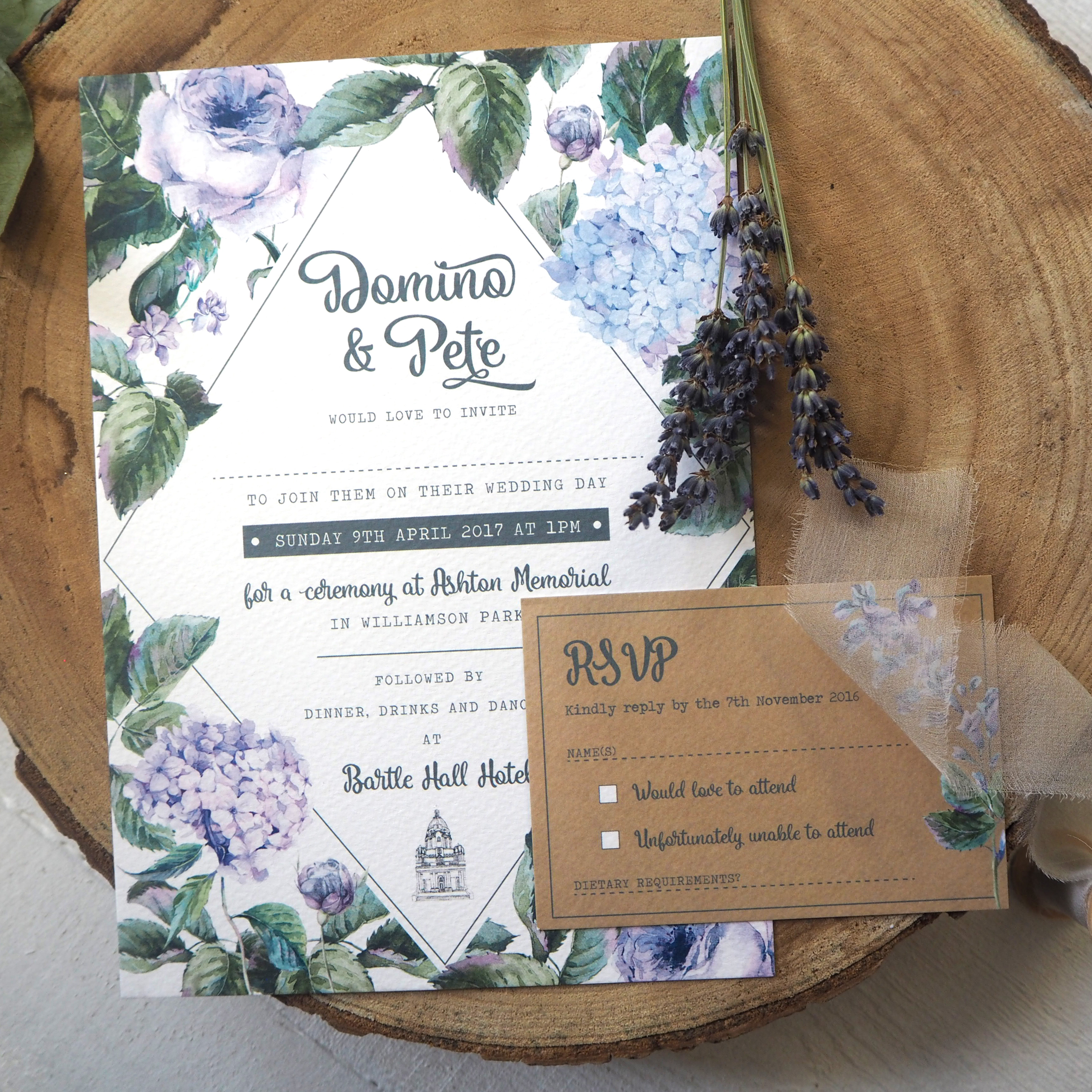 Wild Roses Wedding Invitations - beautiful wedding invite by Rodo Creative