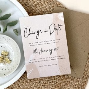 Change the Date, Rodo Creative are offering A6 Postponed wedding cards