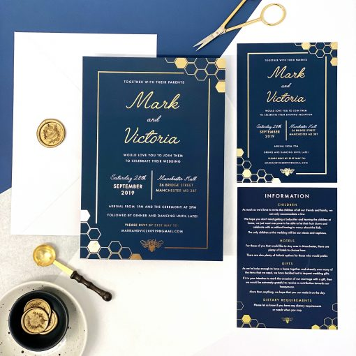 Manchester Bee Wedding Invitations - Perfect for a Manchester wedding.