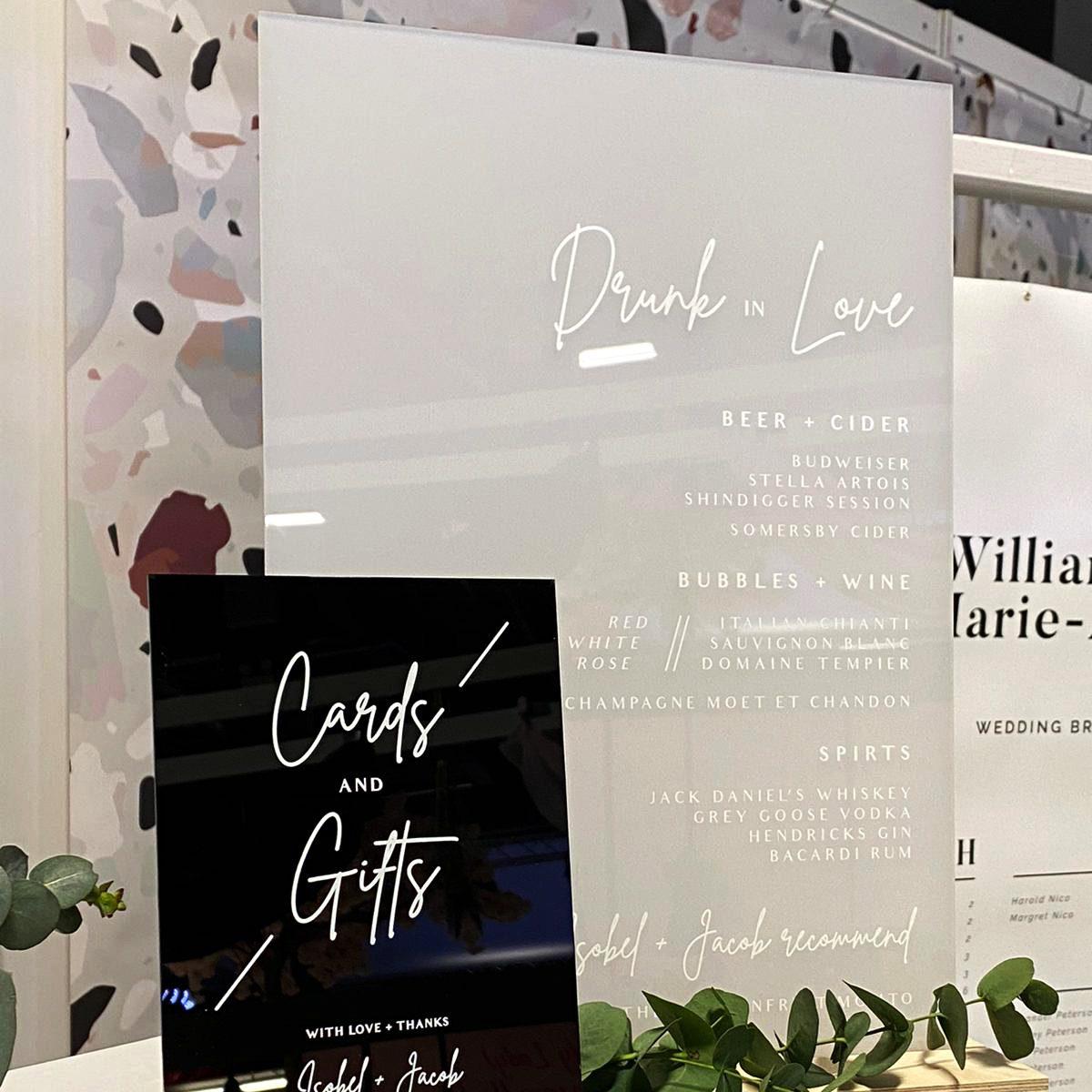 Acrylic Drinks Menu - Signage for a modern wedding - By Rodo Creative