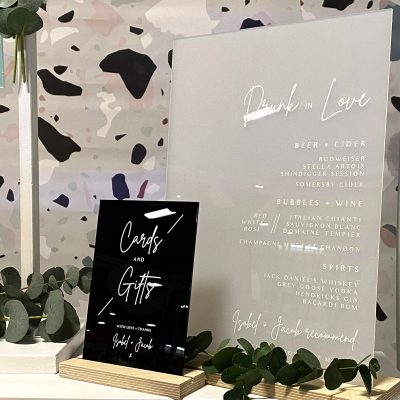 Acrylic Drinks Menu - Signage for a modern wedding - By Rodo Creative
