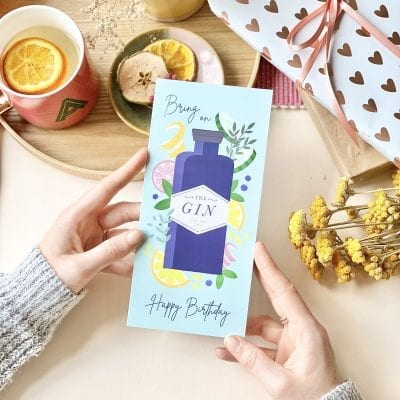 Illustrated Birthday Gin Card - Designed by Rodo Creative
