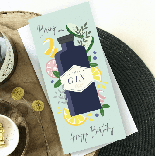 Illustrated Birthday Gin Card - Designed by Rodo Creative - Wedding stationery and greetings card design