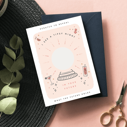 Tipsy Night In Your Future Scratch Card - Designed by Rodo Creative - Wedding stationery and greetings card design