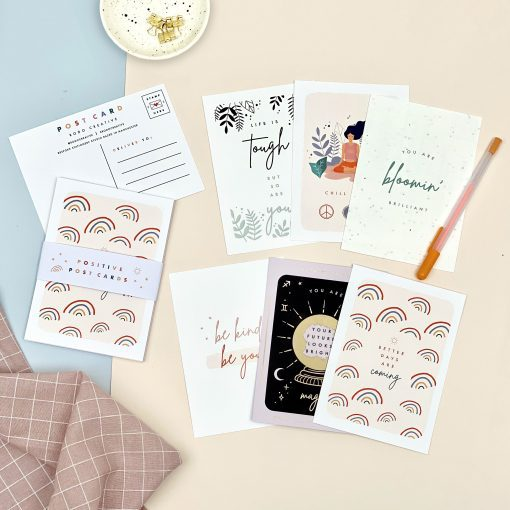 Pack of Six Positive Postcards - Designed by Rodo Creative - Wedding stationery and greetings card design