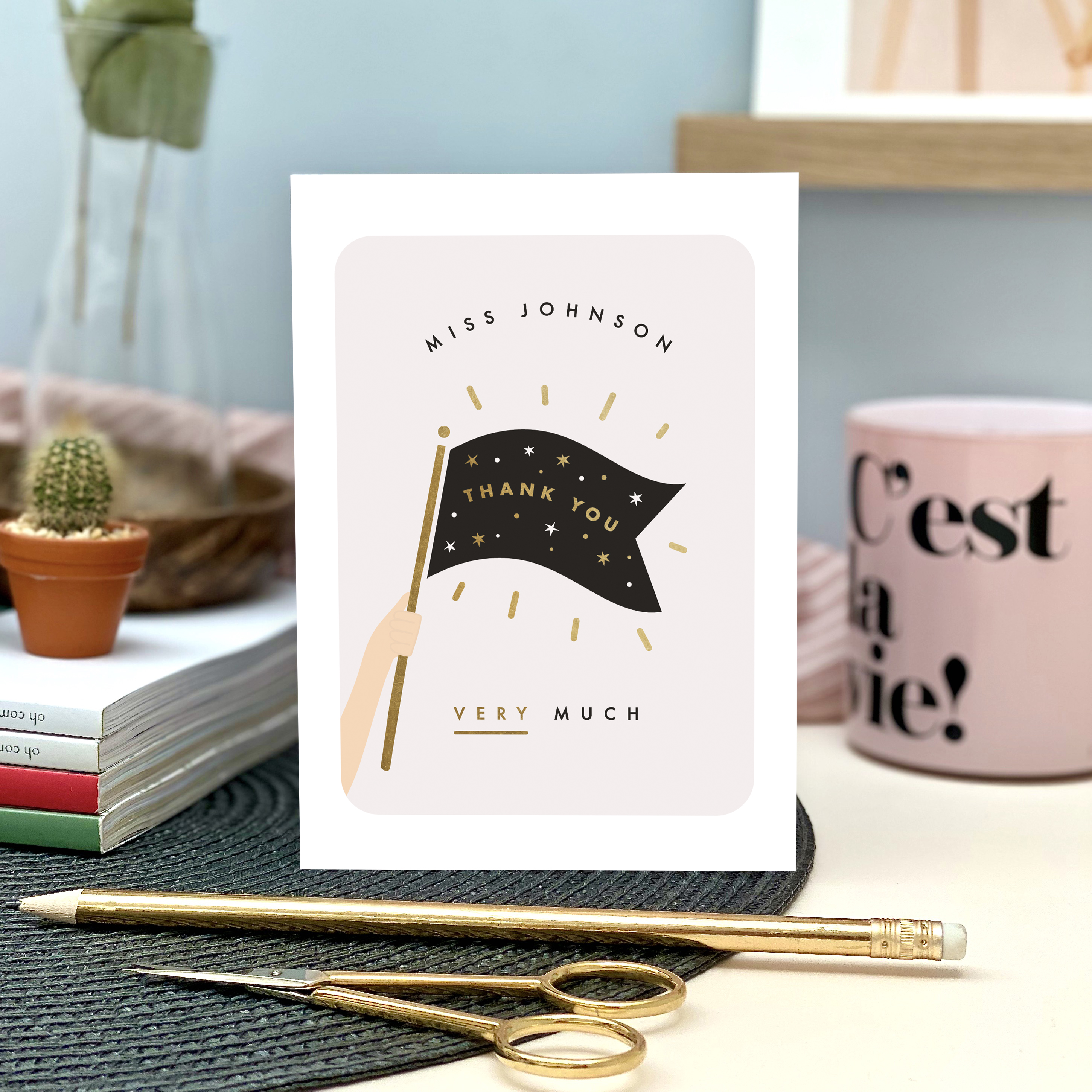 Personalised Thank You Flag Card - Designed by Rodo Creative
