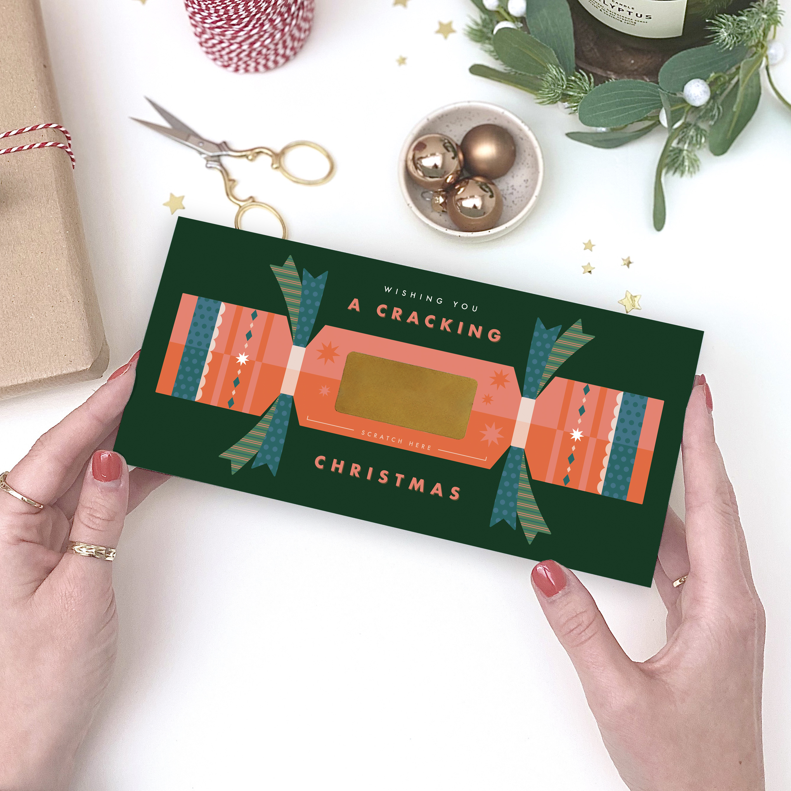 Cracking Christmas Scratch Surprise Card - Designed by Rodo Creative