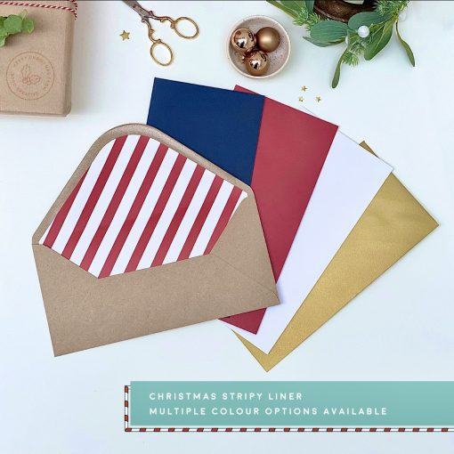Christmas Stripy Liner DL Envelopes - Designed by Rodo Creative - Wedding stationery and greetings card design