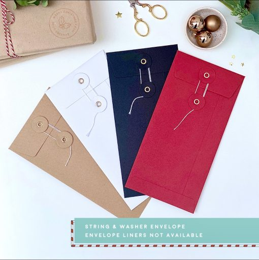 Christmas DL String & Washer Envelopes - Designed by Rodo Creative - Wedding stationery and greetings card design