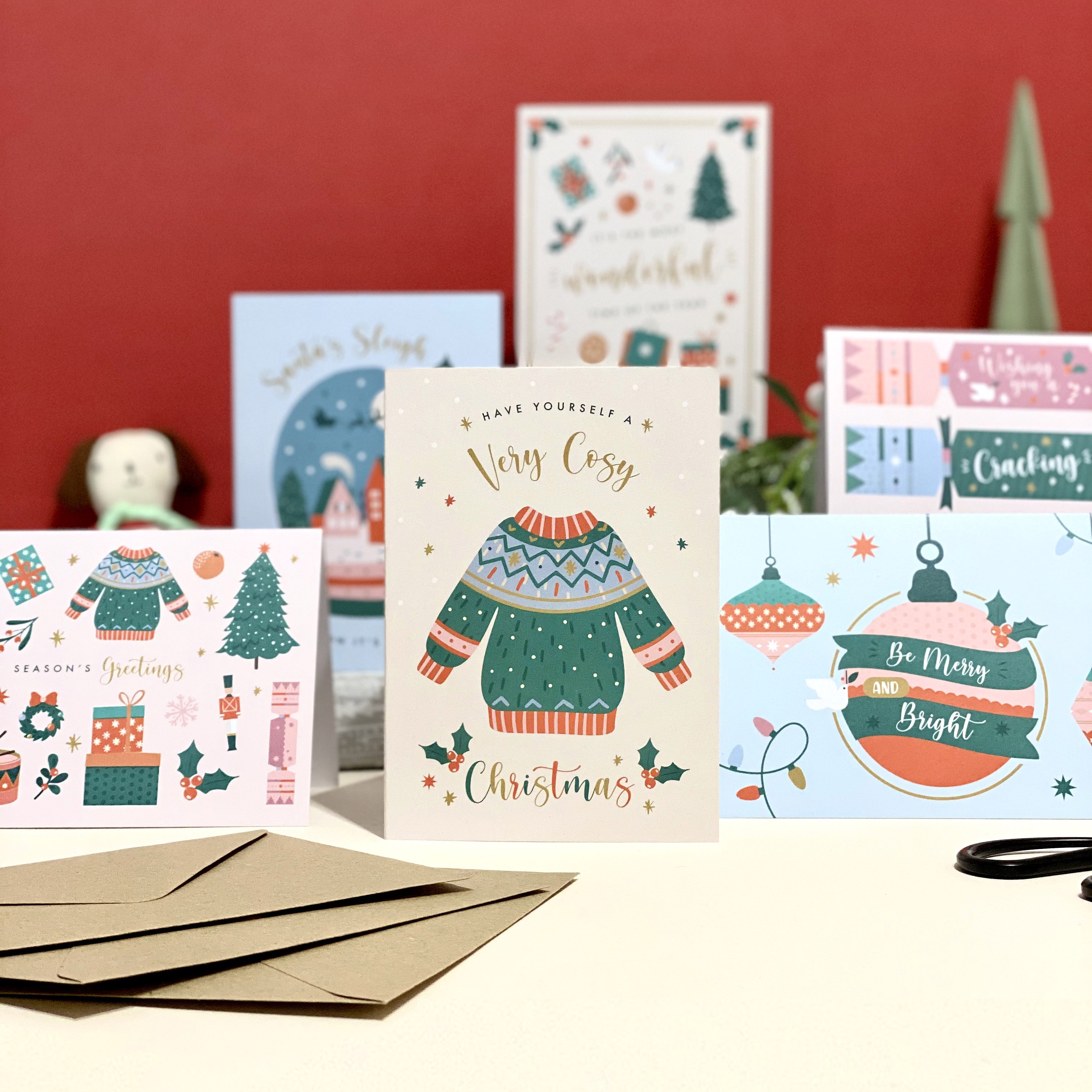 Set of Six Christmas Cards Recycled - Designed by Rodo Creative - Wedding stationery and greetings card design