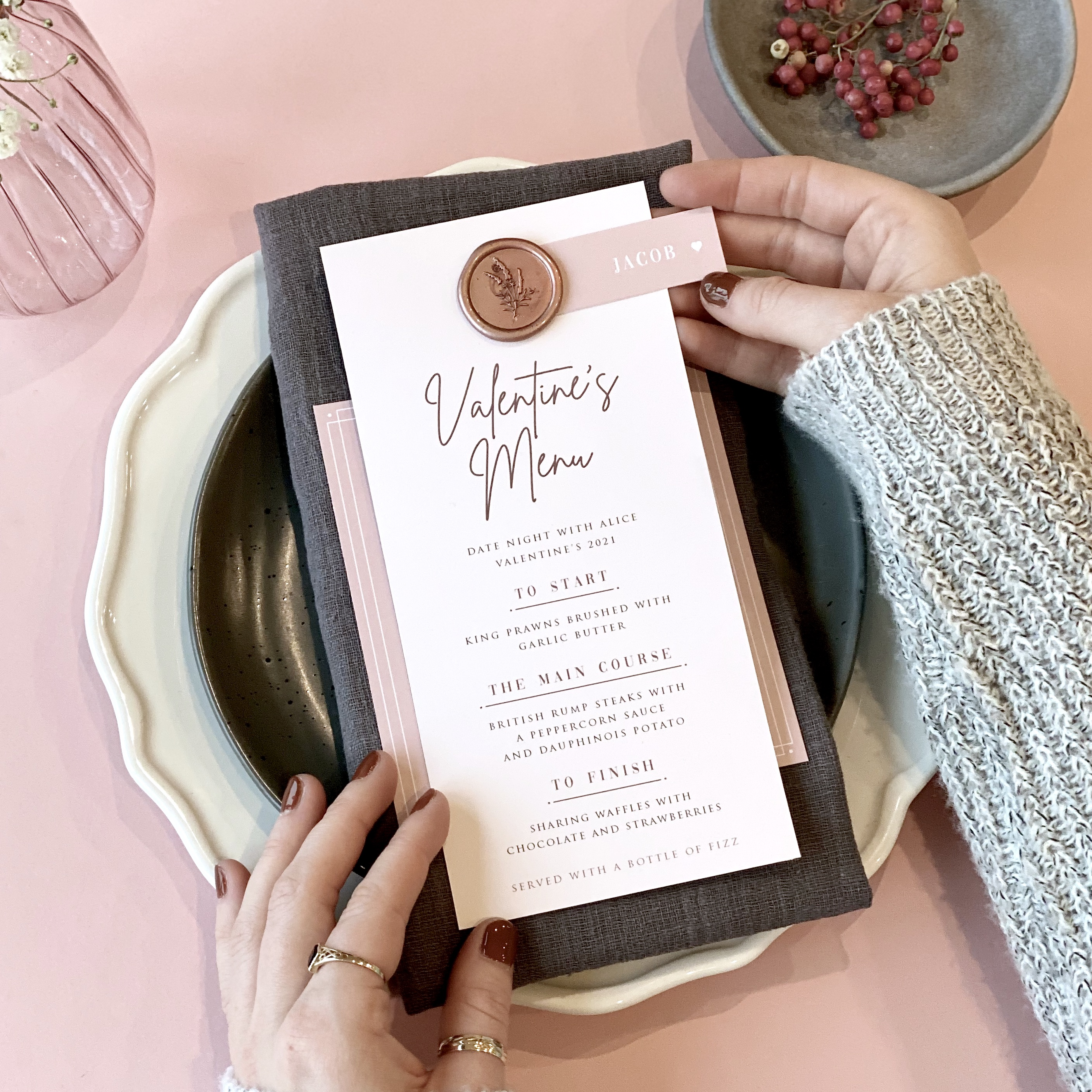 Valentine's Day Menu - Designed by Rodo Creative - Wedding stationery and greetings card design