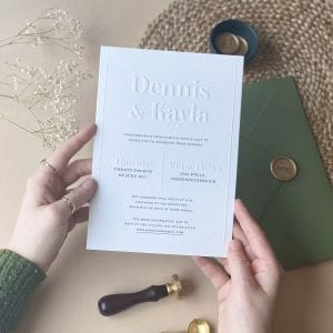 Eco-friendly Blind Embossed Wedding Invitations designed by Rodo Creative