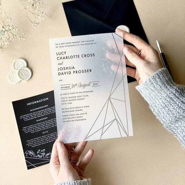 Gypsophila Geometric Vellum Invitation - Designed by Rodo Creative