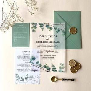 Botanical Geometric Vellum Invitation - Designed by Rodo Creative